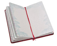 Open Journal. Book with red ribbon.  Isolated on white with a clipping path Royalty Free Stock Photo