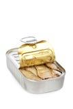 Open kan van sardines stock afbeelding