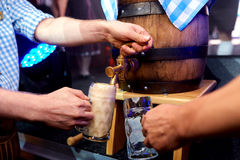 Open keg beer. In a bar Royalty Free Stock Photo