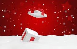 Open Kerstmisverrassing huidig met sneeuw 3d illustratie stock illustratie