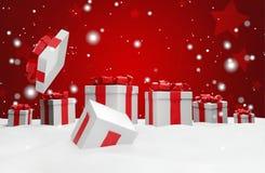 Open Kerstmisverrassing huidig met sneeuw 3d illustratie vector illustratie