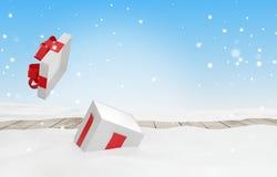 Open Kerstmisverrassing huidig met sneeuw 3d illustratie royalty-vrije illustratie