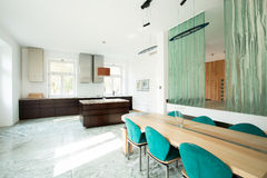 Open kitchen and dinning room Stock Images