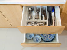 Open kitchen drawer Royalty Free Stock Photography
