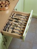 Open kitchen drawers Royalty Free Stock Photography
