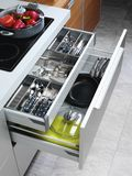 Open kitchen drawers Royalty Free Stock Image