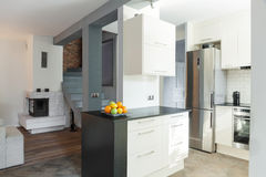 Open kitchen and drawing room Royalty Free Stock Images