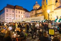 Open kitchenfood market in Ljubljana, Slovenia. Stock Photos