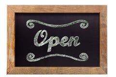'Open' krijt die op bord schrijven Stock Fotografie
