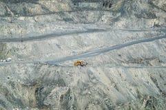 Open kuilmijnbouw, de stad van Asbest, Sverdlovsk oblast, Rusland, Ural, 26 04 het jaar van 2015 Royalty-vrije Stock Foto's