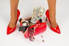 Open ladies handbag. Stock Image