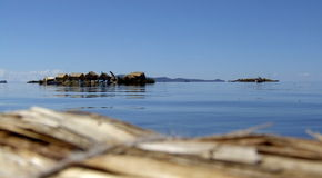 Open Lake Titicaca with Uros floating islands Royalty Free Stock Images