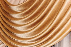 Open lambrequin (portiere, curtain) golden color. On the window. Classic interior decoration indoor openings lambrequins back into fashion Stock Image