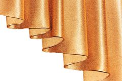 Open lambrequin (portiere, curtain) golden color on the window. Royalty Free Stock Photography
