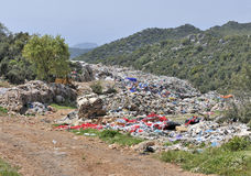 Open landfill site. Rubbish in an open landfill site in the countryside Stock Photo