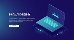 Open laptop with authorization form on screen, personal data protection and processing, information storage protocol. Isometric vector illustration