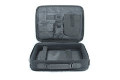 Open laptop bag isolated Stock Photography