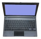 Open laptop with blue screen. On white background royalty free stock image