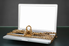 Open laptop with chain and lock Royalty Free Stock Photography