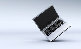 Open Laptop Computer with Blank Screen Stock Image