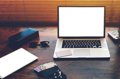open laptop computer and digital tablet with white blank copy space screen for text information or content Royalty Free Stock Images