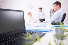 Open laptop on the desk Royalty Free Stock Photo
