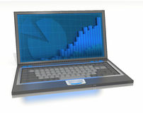 Open laptop with graphs and bars on-screen Stock Photos
