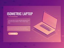 Open laptop isometric vector, banner of computer digital technology, abstract background 3d. Open laptop isometric vector, banner of computer digital technology stock illustration