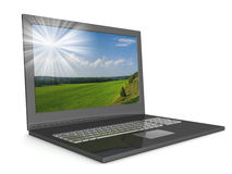 Open laptop with a landscape. Royalty Free Stock Images