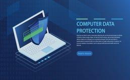 Open laptop met vergunningsvorm op het scherm, persoonlijke gegevensbescherming Royalty-vrije Stock Foto