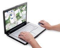 Open laptop with money Royalty Free Stock Images