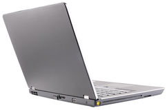Open laptop rear view Stock Photos
