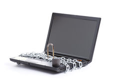 Open laptop security whit chain Royalty Free Stock Image
