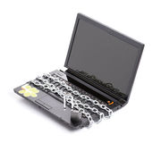 Open laptop security whit chain and padlock Royalty Free Stock Image