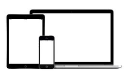 Open laptop smartphone and tablet pc template royalty free stock photos