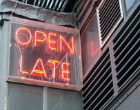 Open Late Sign (1). Red Neon Open Late Sign Royalty Free Stock Photos