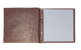 Open leather book stock photography