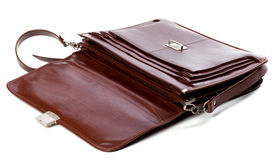 Open leather briefcase Royalty Free Stock Images