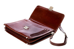 Open leather briefcase on white background Stock Images
