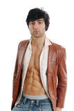 Open leather Jacket. A handsome young man in an open leather jacket Royalty Free Stock Photo