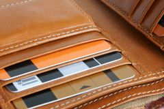 Open leather purse. With credit cards Royalty Free Stock Photo