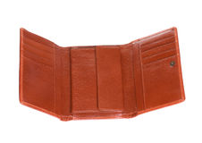 Open leather wallet. On white background Stock Image