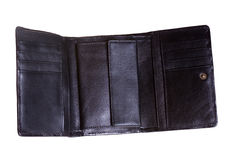 Open leather wallet. On white background Stock Photo