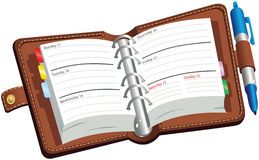 Open leatherbound diary Royalty Free Stock Photo