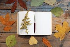 Open leeg notitieboekje op een houten lijst Stock Fotografie