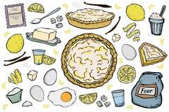 Open lemon pie ingredients stock photography