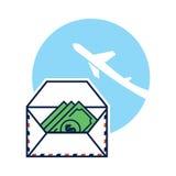 Open letter with dollar bills. Vector illustrations of the Open letter with dollar bills Stock Image