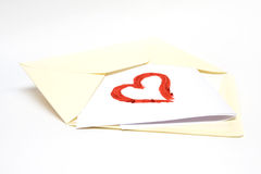 Open Letter with Heart Shape. Made of lipstick Royalty Free Stock Photo