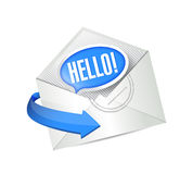 Open letter. hello email illustration design. Over white Royalty Free Stock Photo