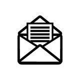 Open letter icon. Opened envelope with letter inside. Receive mail icon Stock Images